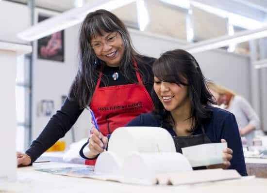 Karita Coffey and IAIA Student in the Ceramics Studio