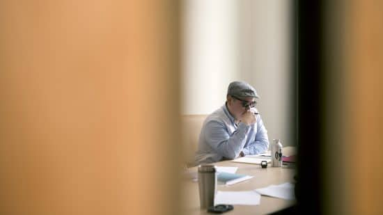 Ira Thorpe Huff '17 (Seneca) during a writing session