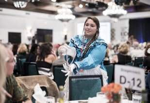 Student Worker during the 2018 Scholarship Dinner and Auction