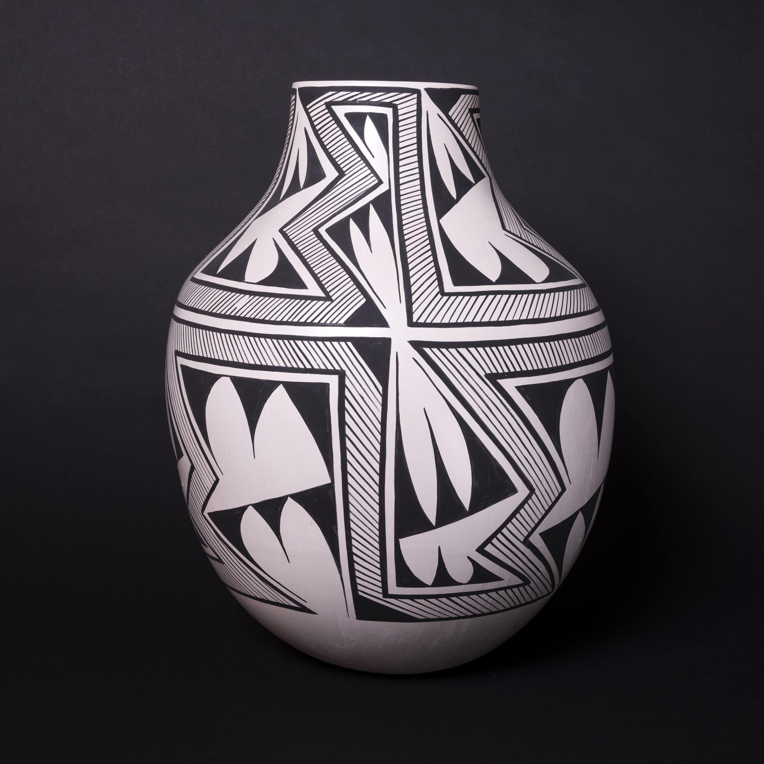 "Chaco America, Jacob Thomas Frye (Tesuque Pueblo), 18"" x 16"", Earthenware clay, stone polish, 08 kiln fired, commercial jet black"