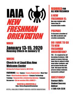 2020 Spring IAIA New Freshmen Orientation Schedule