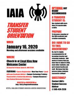 2020 Spring IAIA Transfer Orientation Schedule