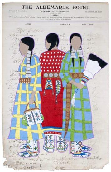 Avis Charley, Protectors, 2020, color pencil, India ink, antique paper