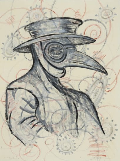Linda Lomahaftewa (Hopi/Choctaw), Plague Doctor II, 2020, Monotype on paper, 29.75 x 22.25 in., Private Collection, Image Courtesy of IAIA Museum of Contemporary Native Arts