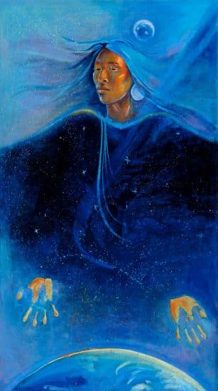 Charlene Teters (Spokane), Night Sky Dancer, 1985, oil on canvas, 55.5 in. x 32 in. SPK-40; Gift of the Artist, 1986; Courtesy of the IAIA Museum of Contemporary Native Arts, Santa Fe, NM. Photograph by Jason S. Ordaz.