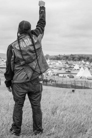 IAIA Associated Student Government President Chad Browneagle (Shoshone/Spokane) at Sacred Stone Camp, photograph by IAIA Student Jaida Grey Eagle (Oglala Lakota)