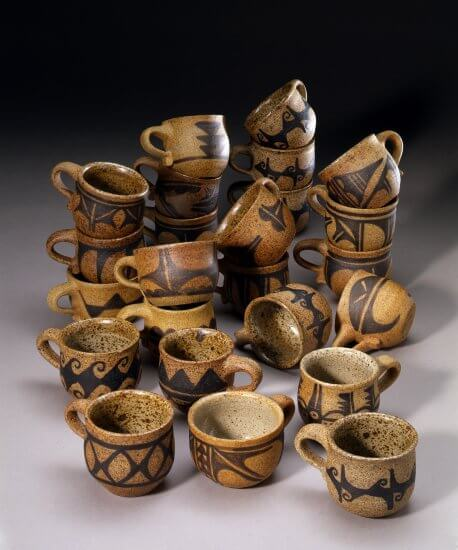 Robert Tenorio, Untitled, 1970, 24 glazed stoneware cups, MoCNA Collection, SD-92