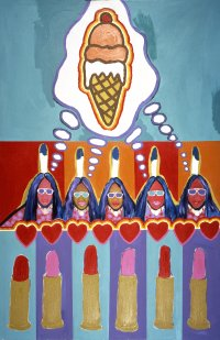 Delmar Boni (Apache), The Great Native American Dream #1, (detail), 1975, acrylic on canvas, MoCNA Collection A-124