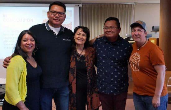 Photograph (Left to Right): Angie Trudell Vasquez, Jake Skeets, Kimberly Blaeser, Manny Loley, and Beatrice Szymkowiak at University Wisconsin-Milkwaukee.