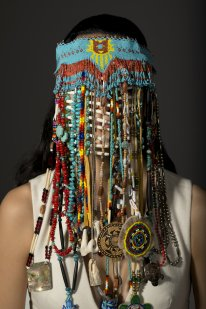 Headdress, Dana Claxton (Sioux), 2015 , LED firebox with transmounted Lightjet Duratrans, 48 x 32 inches, Collection of Rosalind and Amir Adnani