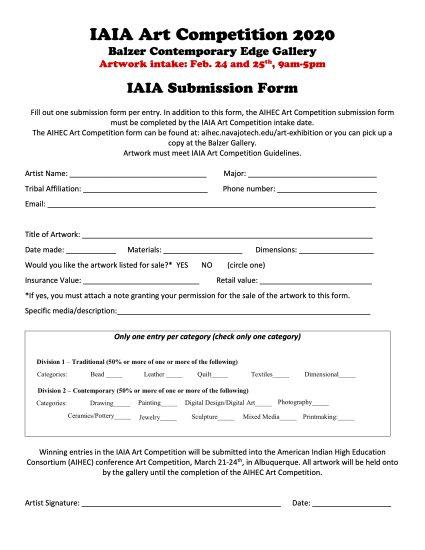 2020 IAIA Art Competition Form