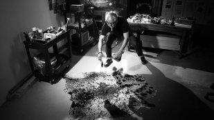 James Luna, <em>James Pollack</em>, 2016, Digital photograph, cowhide, paint can and paint brush