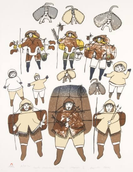 "<em>Migration towards Our Summer Camp</em>, Pitseolak Ashoona (Inuit), Lithograph, 26""x 20"", 1904–1983"