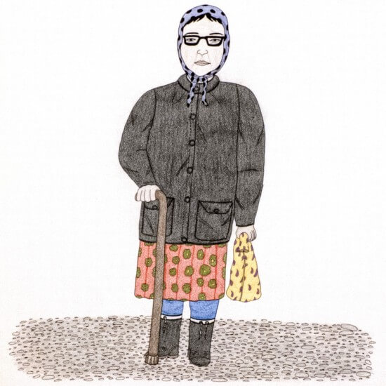 A Portrait of Pitseolak by Annie Pootoogook, pencil crayon, ink, Inuit, Cape Dorset (2003/2004)