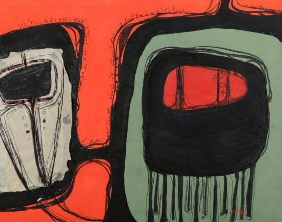 Hank Gobin (Tulalip Snohomish), Northwest Design, 1966, Casein on paper, MoCNA Collection SNH-6