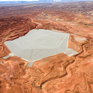 Will Wilson (Diné), Mexican Hat Disposal Cell, Navajo Nation (Connecting the Dots series), 2019, drone-based digital prints, ca. 44 x 100 in., photo courtesy of the artist